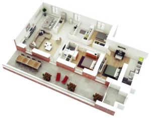 Departamento con balcón amplio y comedor