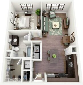 Departamento de 1 dormitorio con living, 1 baño con clóset walk through