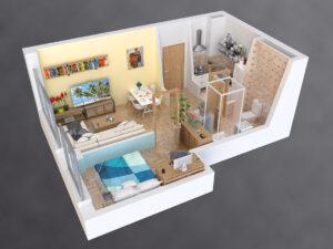 Departamento de 1 dormitorio con living, 1 baño con espacios abiertos
