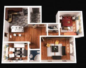 Departamento de 1 dormitorio con living, 1 baño con espacios cerrados