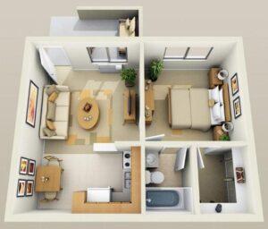 Departamento de 1 dormitorio con living, 1 baño cuadrado