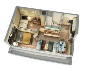 Departamento de 1 dormitorio con living, 1 baño rectangular