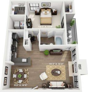 Departamento de 1 dormitorio con living, 1 baño y balcón