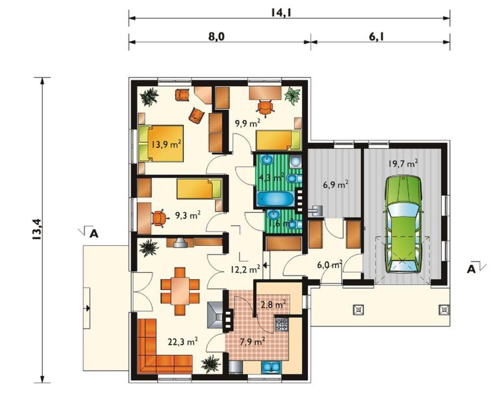 Plano de casa campestre con 3 habitaciones y cochera