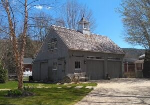 Plano de casa de campo con garage de madera