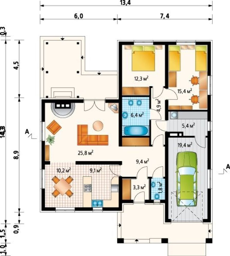 Plano de casa de campo con cochera