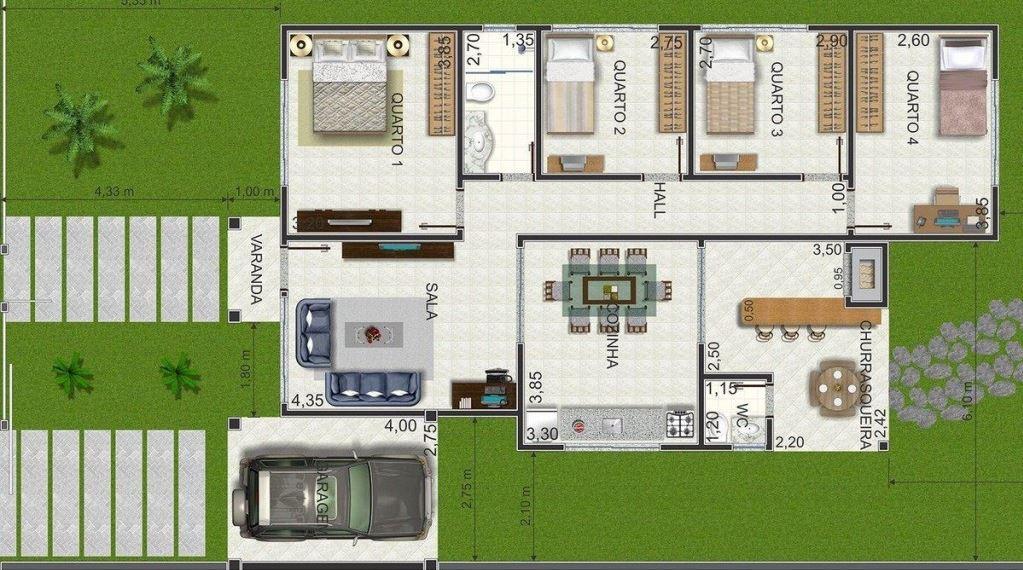Planos de casas de 75 metros cuadrados