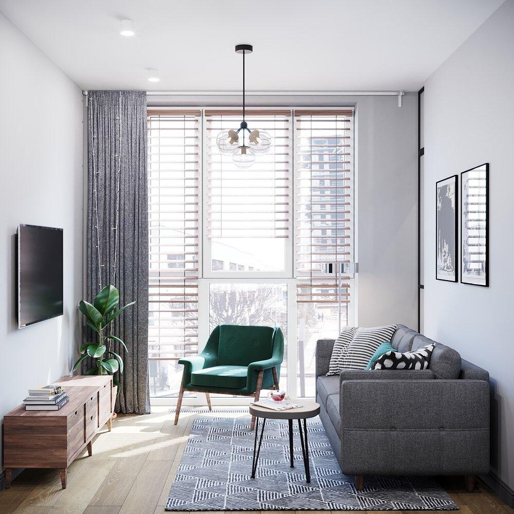 Sala de estar en minidepartamento de 30 metros cuadrados