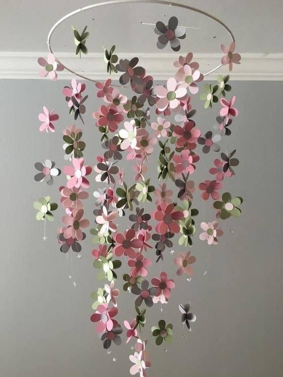 Carillón de viento circular con flores de colores