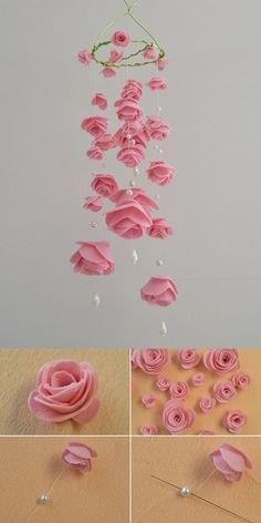 Carillón de viento colgante rosa
