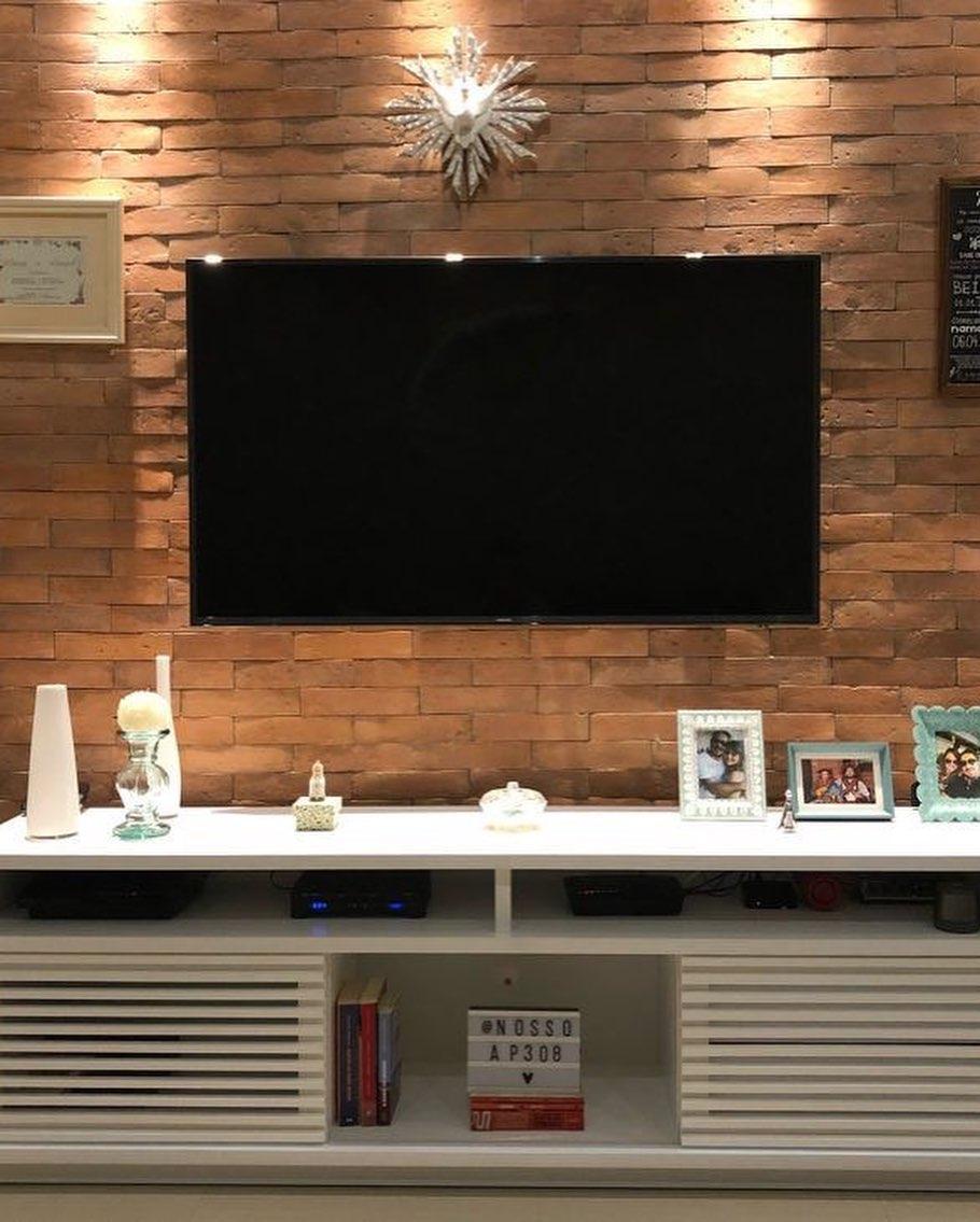Decoración con ladrillo para la televisión