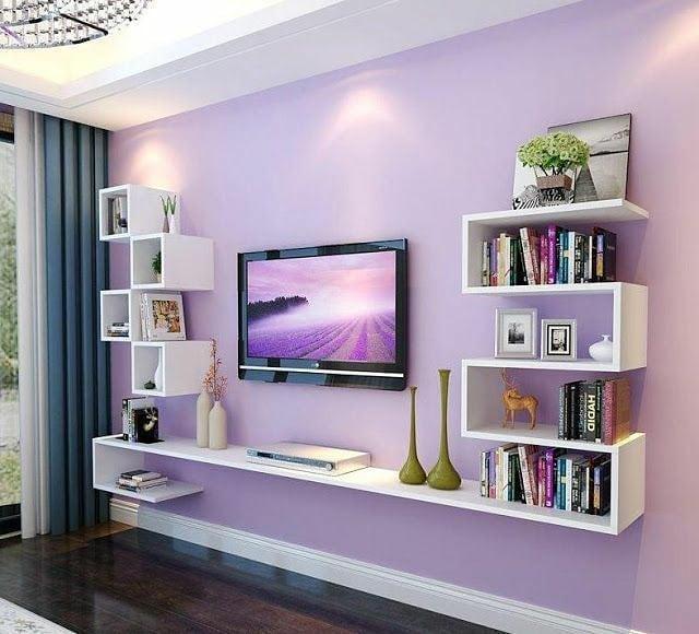 Decoración para área de televisión colorida