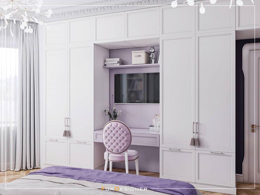 Habitación con combinación de color morado y blanco