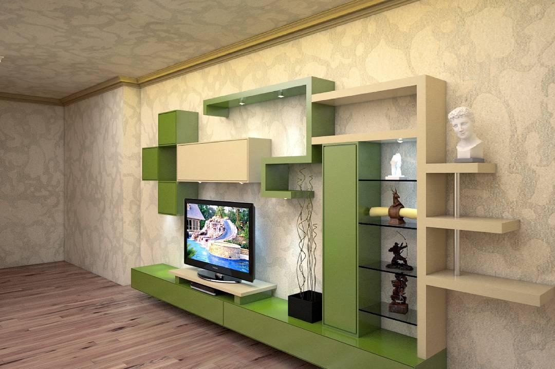 Muebles coloridos para poner la televisión