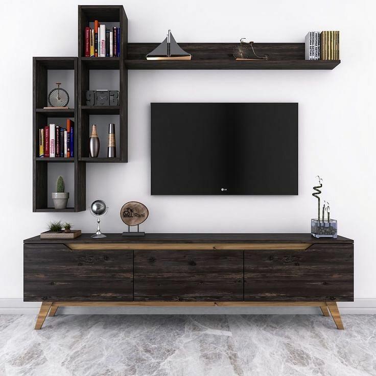 Organiza el área de la televisión con madera oscura