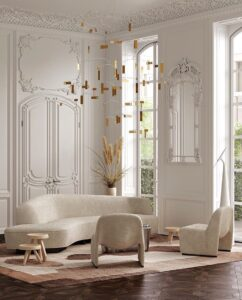 Sala elegante en combinación dorado, beige y blanco