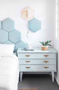Cabecera para cama con forma de hexágonos