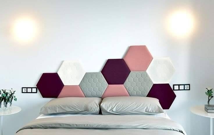 Formas de hexágono para cabecera de cama
