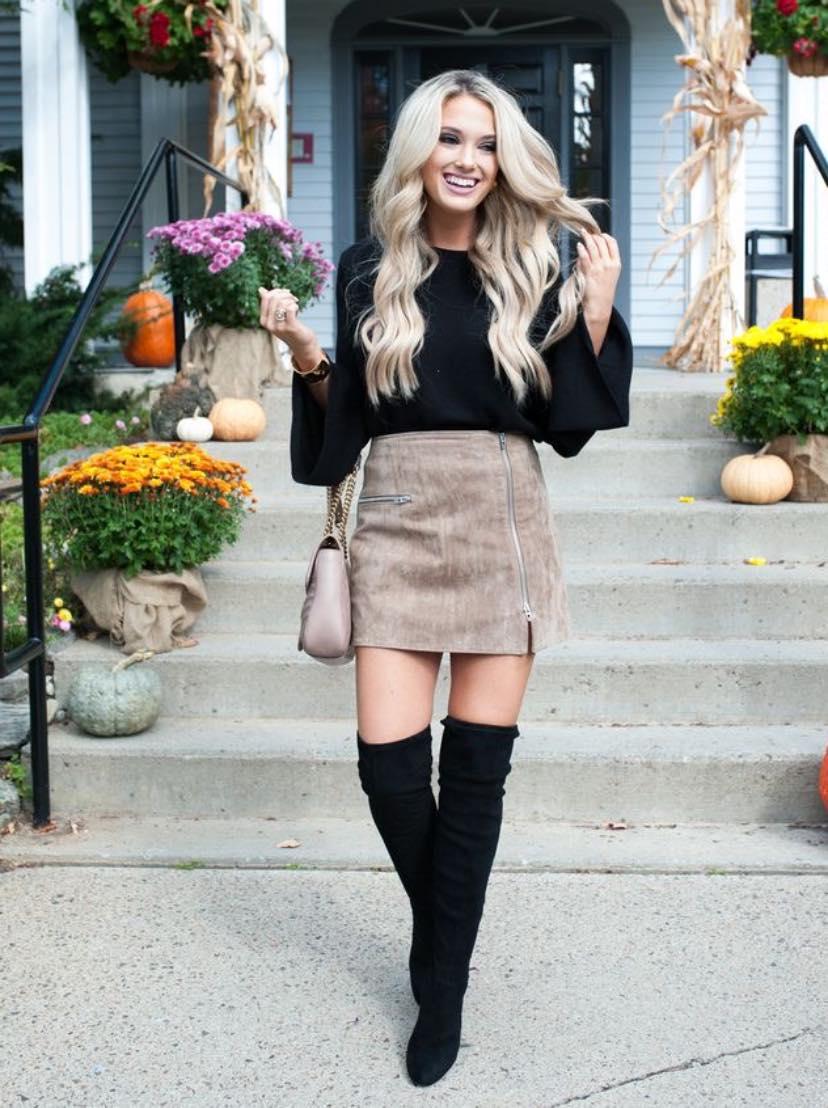 Ideas de looks para usar faldas cortas en invierno