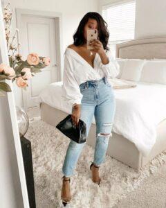 Outfits con jeans de tiro alto