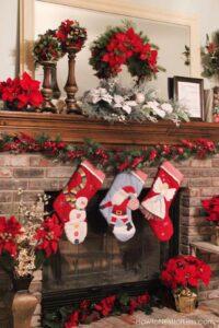 Chimeneas navideñas color rojo