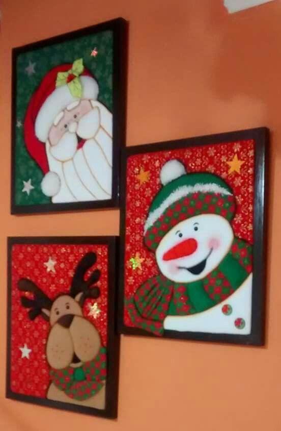 Moldes para hacer cuadros navideños en patchwork