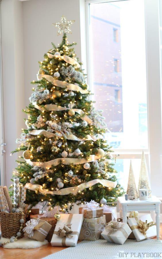 Adornos navideños dorado con plateado