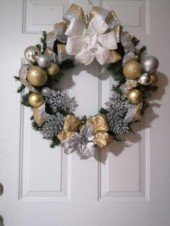 Coronas navideñas dorado y plata