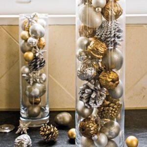 Centros de mesa navideños dorado y plateado
