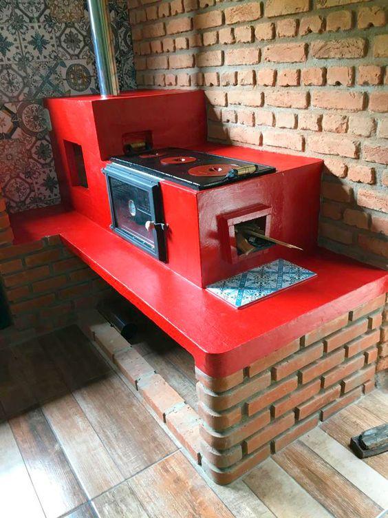 Ideas de Cocina a leña a base de ladrillo rojo