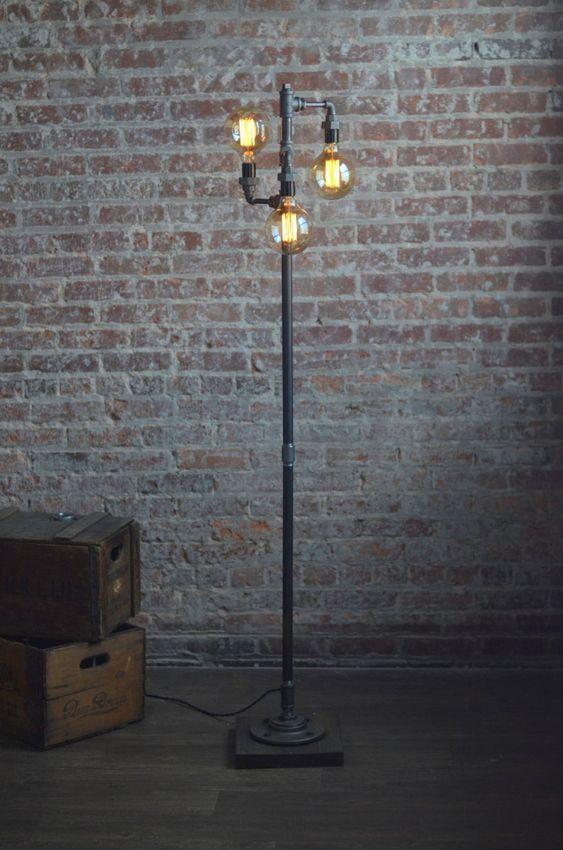 Ideas de lamparas para decoración industrial de pie